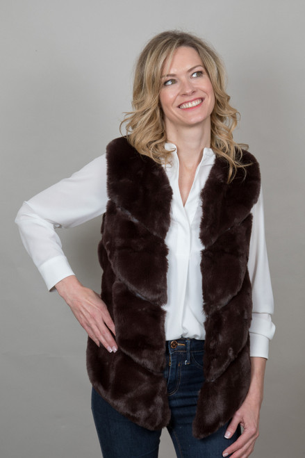 Luxury Faux Fur Gilet in Chocolate