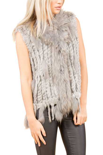 Light Grey Rabbit and Fox Fur Gilet  FF48A-03 (with tassels)