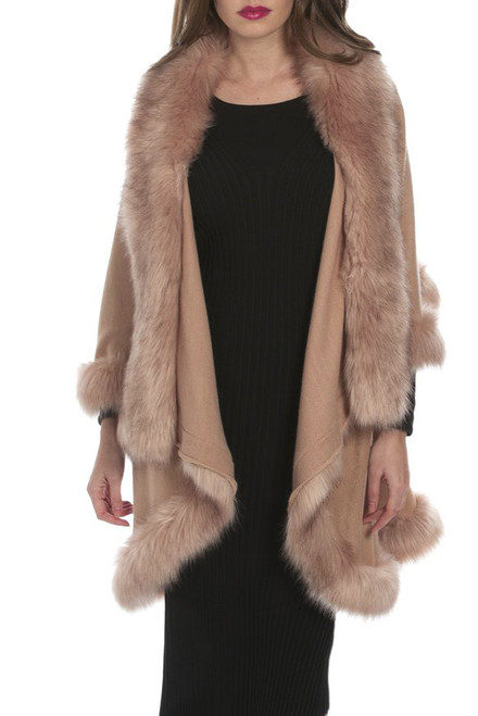 Faux Fur Wrap in Camel KFP23A-B06