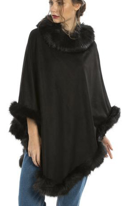 Faux Suede and Faux Fur Poncho in Black