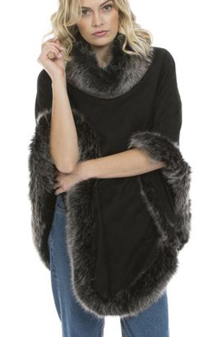 Faux Suede and Faux Fur Poncho in Black with Silver Tips SUFM23A-01S