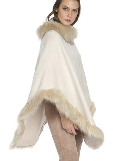Faux Suede and Faux Fur Poncho in Cream