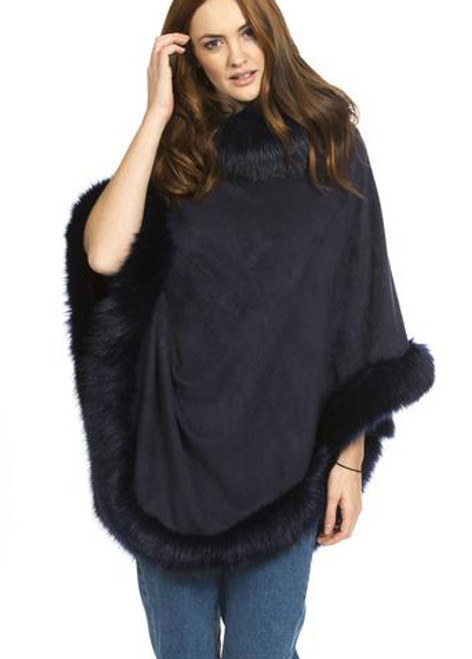 Faux Suede and Faux Fur Poncho in Navy SUFM23A- 07
