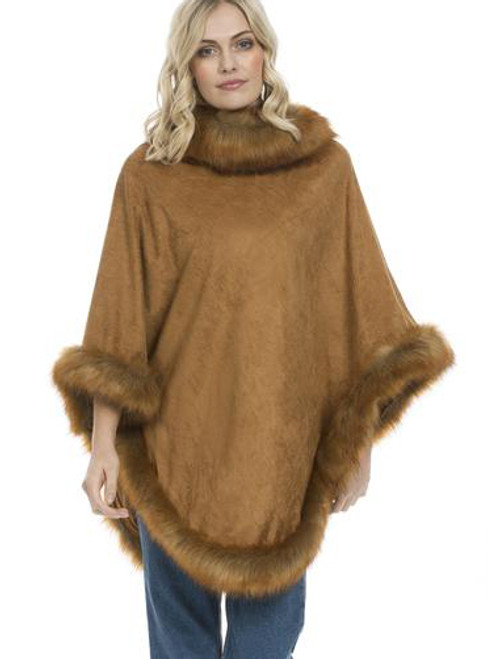 Faux Suede and Faux Fur Poncho in Camel