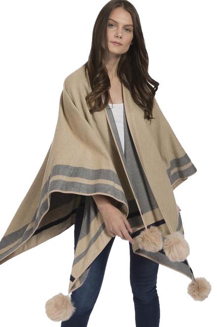 Cashmere Faux Fur Pom Pom Wrap in Camel
