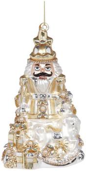 JEWELED NUTCRACKER ORN - GOLD/WHITE - 38-13446