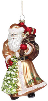 SANTA W/CHRISTMAS TREE ORN - 38-13266