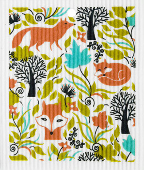 FOXES IN FOREST WASH TOWEL - 56-541