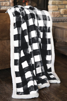 LUMBERJACK BLACK & WHITE PLAID THROW - JP713TH