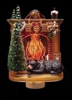 BEAR BY FIREPLACE NIGHT LIGHT  - 164054