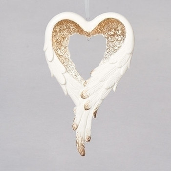 FEATHER HEART ORN - 130915