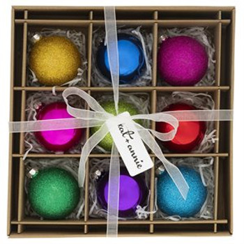 Chic and Glittery, this Rainbow glass ornament 9 box set will add the perfect splash of color to the Christmas season.