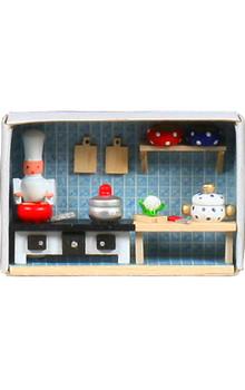 028-142 miniature matchbox kitchen scene with chef