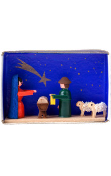 028-007 miniature nativity scene in matchbox