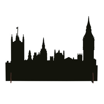 This black backdrop, outlining a classic London skyline, makes a perfect addition to your Dickens' Village display. This landscape accessory is hand-crafted, hand-painted, metal.
