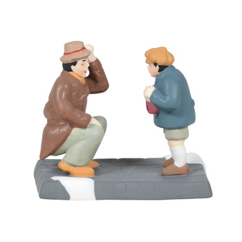 Dad bends down to listen to a long list of wishes from his starry-eyed son this Village accessory is hand-crafted, hand-painted, Porcelain.
