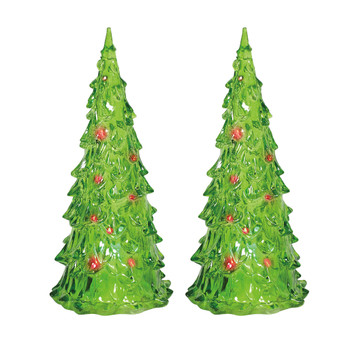 Set of 2 Village trees add to your Village display. Green, clear, trees light with color changing lights. This Village tree set is hand-crafted, acrylic. Battery box included, button batteries required.