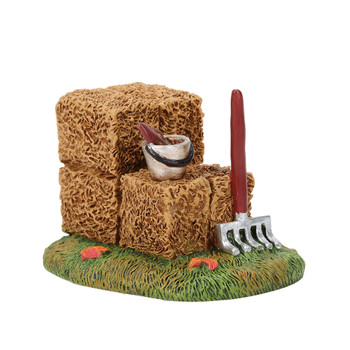 Hay is baled, pail is ready for gathering, and a rake stands ready for leaves. Cute yard decor for your Village display. This general accessory is hand-crafted, hand-painted, resin.