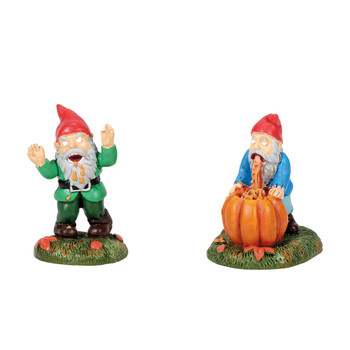 Set of 2, yard decor, makes fun of yard gnomes, perfect for your Halloween Village display. This general accessory is hand-crafted, hand-painted, resin