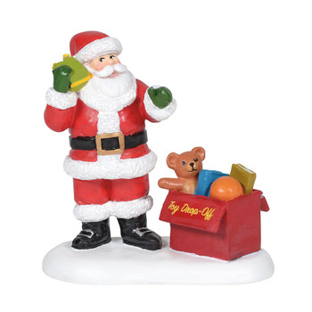 Santa stops to pick up the donated toys and finds a present address to him! This general accessory is hand-crafted, hand-painted, resin.