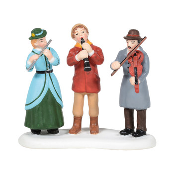 Trio of musicians serenades from the Village sidewalk. This general accessory is hand-crafted, hand-painted, porcelain.