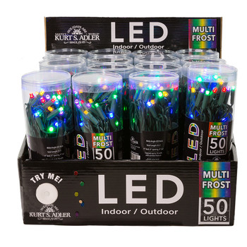 MULTI FROSTED LED/GREEN WIRE