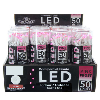 PINK FROSTED LED/WHITE WIRE