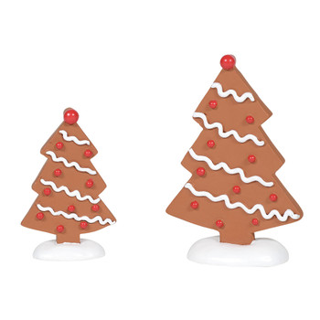 Gingerbread trees, set of 2, adds a perfect compliment to Gingerbread Lane. This general accessory is hand-crafted, hand-painted, resin.