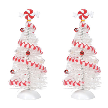 Set of 2 trees, white with peppermint trim. This general accessory is hand-crafted, hand-painted, sisal.