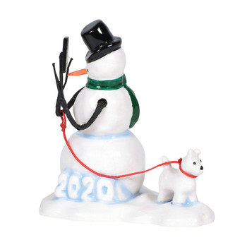 This 2020 dated snowman has his own snowpuppy and makes the perfect Village yard decor. This general accessory is hand-crafted, hand-painted, ceramic.