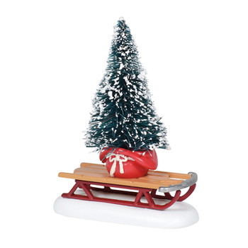A small sled holds a bundled sisal tree. This general accessory is hand-crafted, hand-painted, diecast.