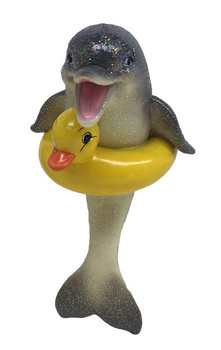 Duckie Dolphin Christmas ornament joins the December Diamonds Collection. This cute dolphin and his yellow rubber ducky floatie are enjoying a swim. 55060
