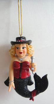 "December Diamonds Karla Karaoke Mermaid Ornament is approximately 5 inches tall in a red & black mermaid outfit with lots of ""diamond"" rhinestone star jewelry. 55-90772"