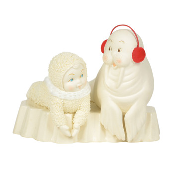 Clap on snowbabies classic collection - snowbaby and walrud wtih red earmuffs 6004217