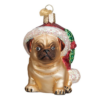 Holly Hat Pug by Old World Christmas 12430