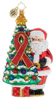 Christopher Radko Hand-Crafted European Glass Christmas Decorative Figural Ornament, AIDS Awareness Christmas Tree.