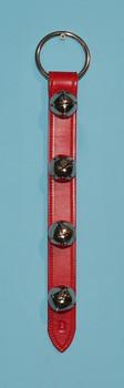 red leather strap sleigh bell door hanger
