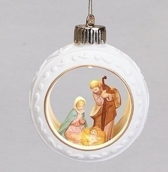 LED HOLY FAMILY ORNAMENT PORCELAIN