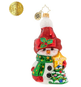 This snowman might be small, but he sure is mighty...cute. And he's a perfect gift to commemorate baby's first Christmas.