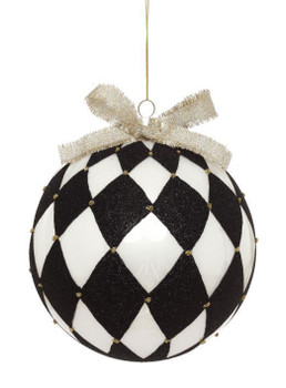 BLACK AND WHITE CHECKERED BALL ORNAMENT - 4 INCHES