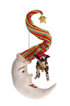 COW JUMPED OVER THE MOON ORNAMENT - 15 INCHES