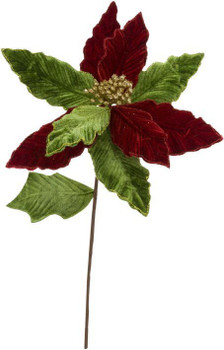 GLITTER POINSETTIA PICK - RED & GREEN