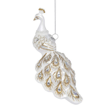 WHITE BEJEWELED PEACOCK ORNAMENT