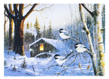SNOW BIRDS AND CABIN