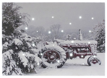 SNOW COVERED RED TRACTOR