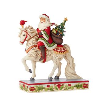 SANTA RIDING WHITE HORSE