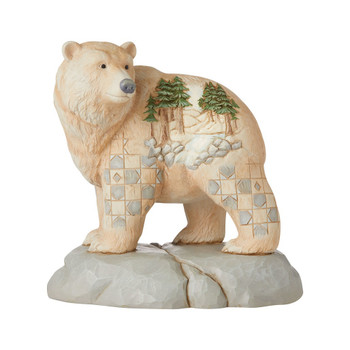 WHITE WOODLAND BEAR W/ SCENE