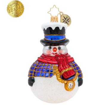 Round and round, he rolls! Our dapper snowman is ready for winter with his warm red scarf and adorable top hat!