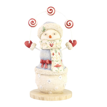 A perfect yard decor for a peppermint themed Village display, this cute snowman. This general accessory is hand-crafted, hand-painted, resin.