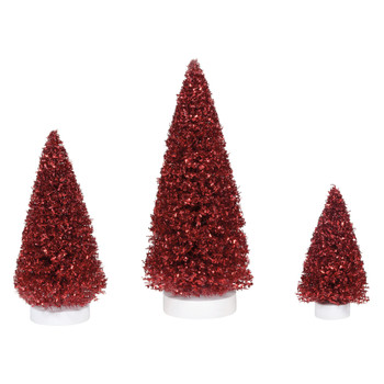 Set of 3 Village trees add to your Village display. You will be amazed how the chunky red glitter gives these trees a great sparkle and pop of color. This Village tree set is hand-crafted, sisal.